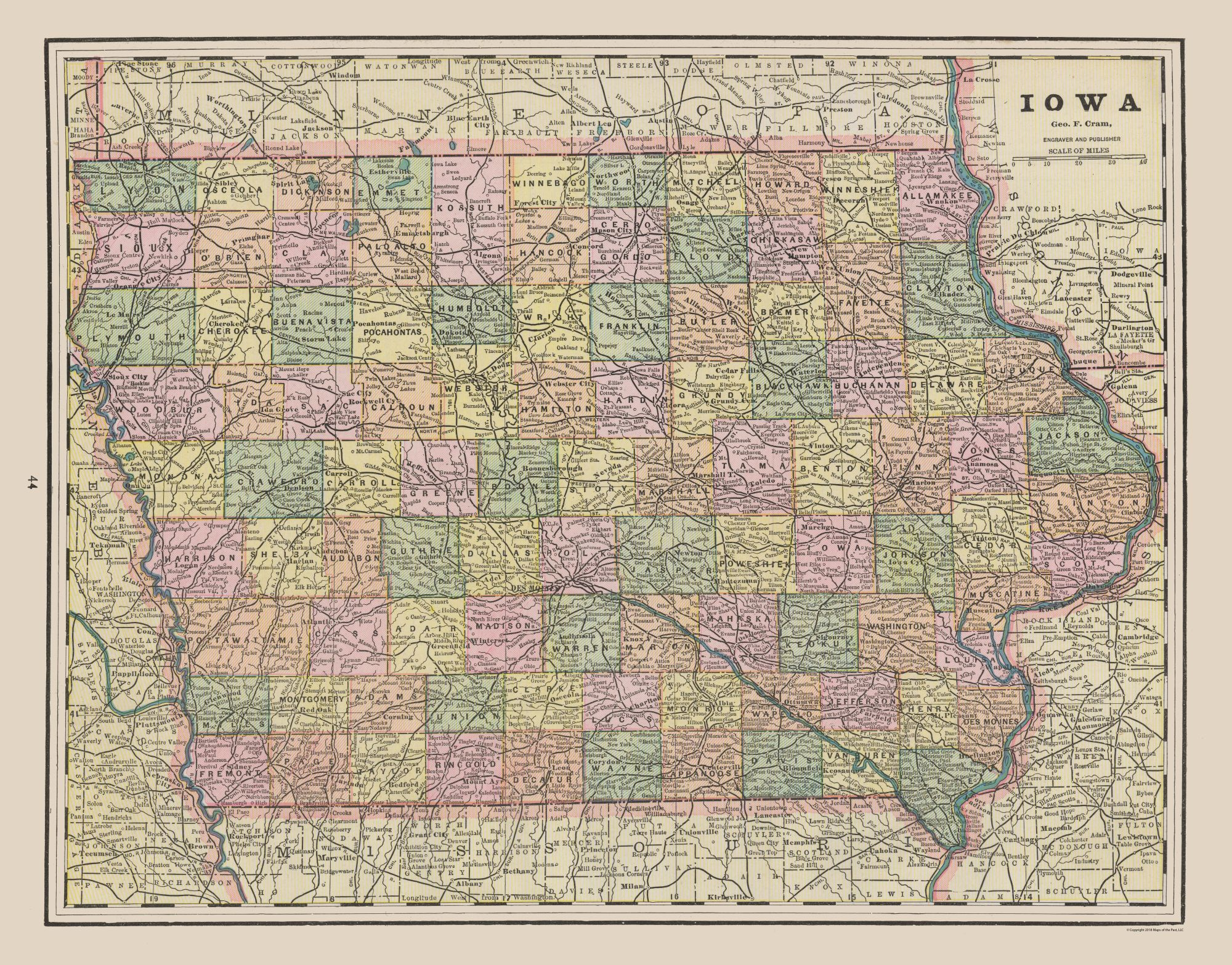 Old Iowa Map.Old State Map Iowa Cram 1892 29 35 X 23 Walmart Com