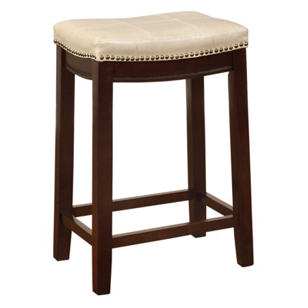 Linon Claridge Patches Backless Counter Stool 24 Inch