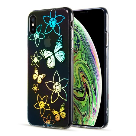 Decoration Series Holographic Printing Transparent Fusion Case for iPhone XS Max - (Decoration Case)