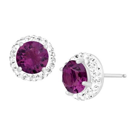 Luminesse February Stud Earrings With Purple