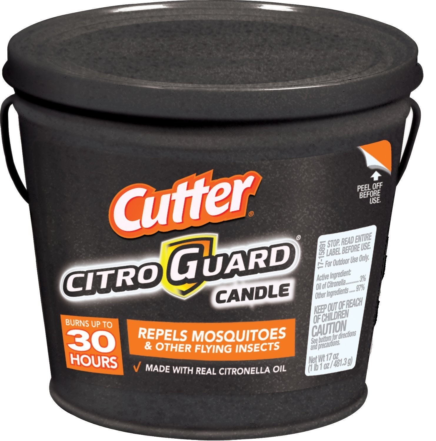 Cutter Citro Guard 17 oz Insect Repellent Bucket Candle, Slate