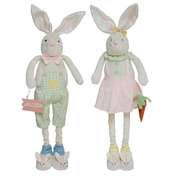 Pack of 2 Pastel Bunny Couple with Bunny Slippers Easter Decorations 41""