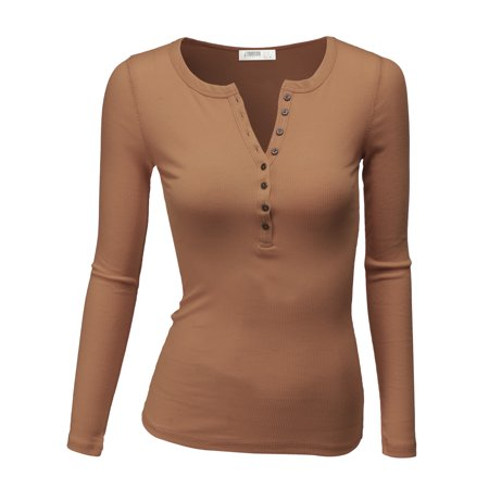 Doublju Women's Thermal Henley Long Sleeve Top with Plus Size