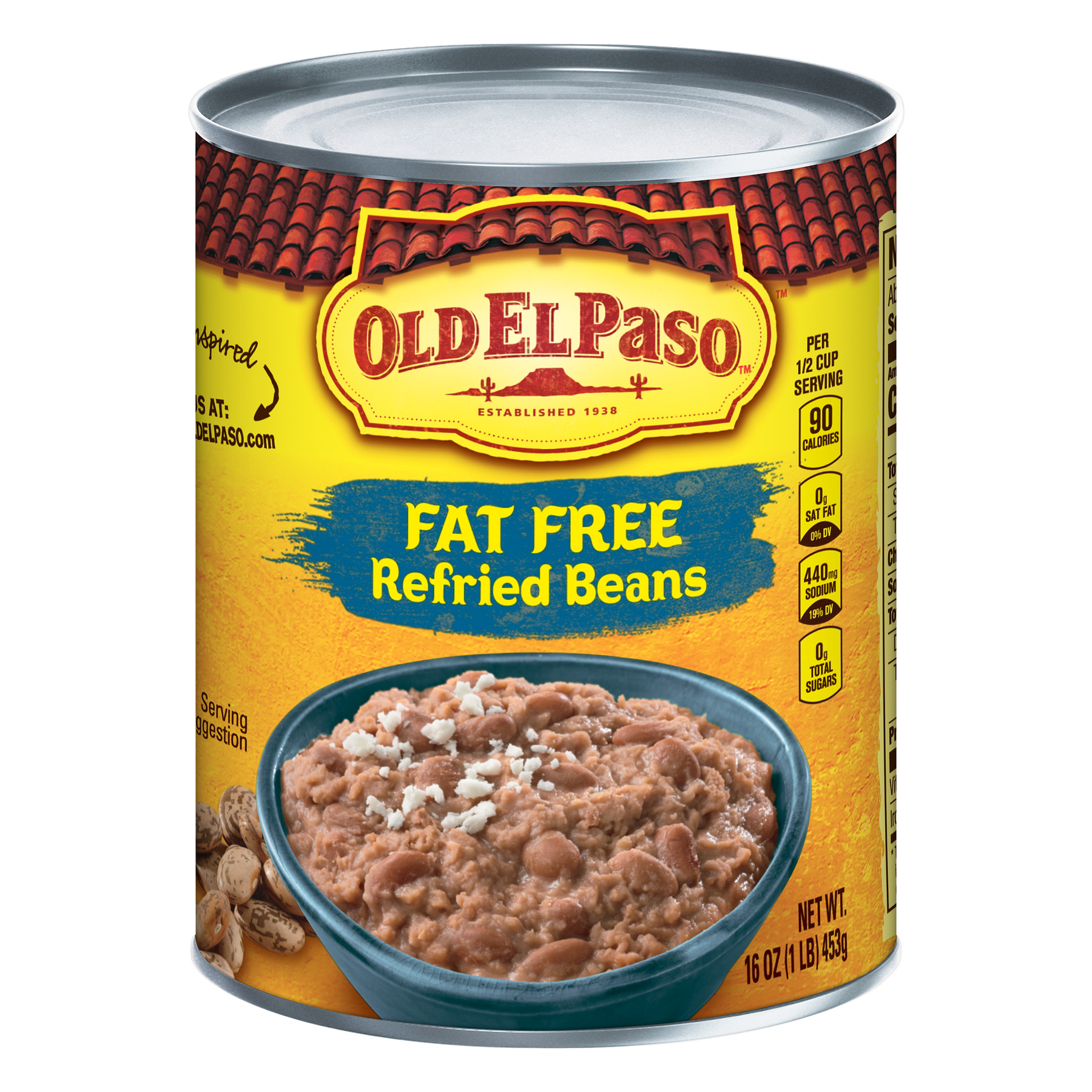 Old El Paso Fat Free Refried Beans, 16 oz Can
