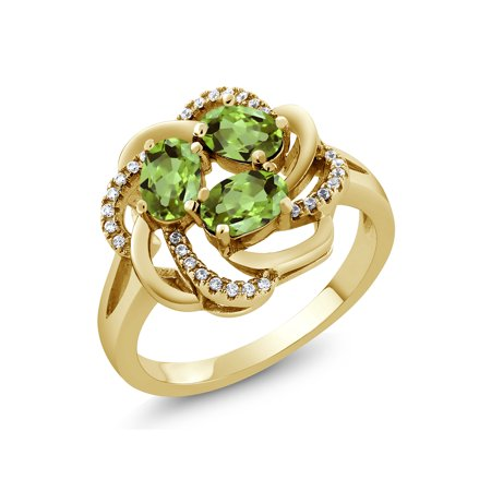 1.87 Ct Oval Green Peridot 18K Yellow Gold Plated Silver Ring