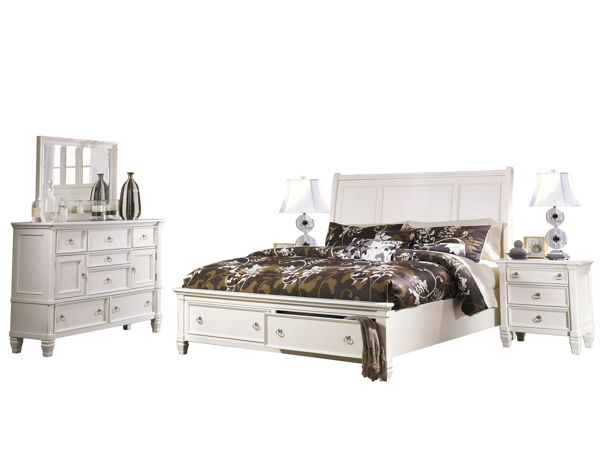 Ashley Furniture Prentice 5 Pc Bedroom Set Cal King Sleigh Bed Dresser Mirror 2 Nightstand White Walmart Com Walmart Com