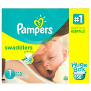 Pampers Swaddlers Soft and Absorbent Newborn Diapers, Size 1, 168 Ct
