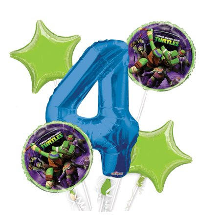 Ninja Turtle Table Decorations (Ninja Turtles Balloon Bouquet 4th Birthday 5 pcs - Party SuppliesBalloons sold without Helium. By Viva)
