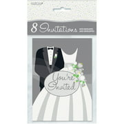 Silver Wedding Invitations, 8pk