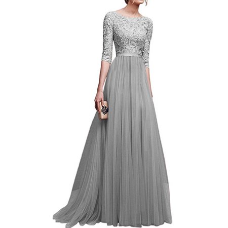 Womens Vintage Chiffon Lace Evening Party Dress Half sleeve Slim Formal Evening Ball Gowns Party Elegant Temperament Bridesmaid Wedding Dresses