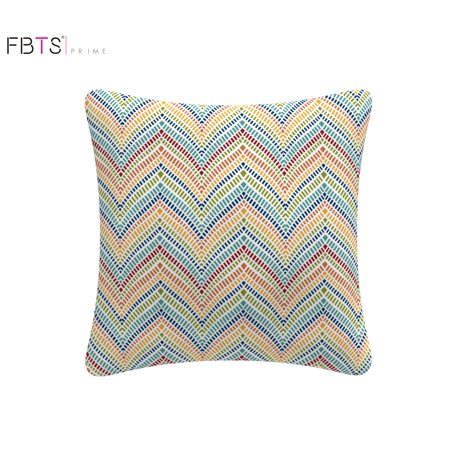 Throw Pillow with Insert Indoor Outdoor 18 by 18 Inches Decorative Square Cushion Cover Pillow Sham (Multi, Rainbow Zigzag)for Couch Bed Sofa Patio by FBTS Prime