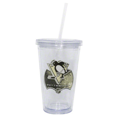 NHL - Pittsburgh Penguins Double Wall Tumbler with Straw