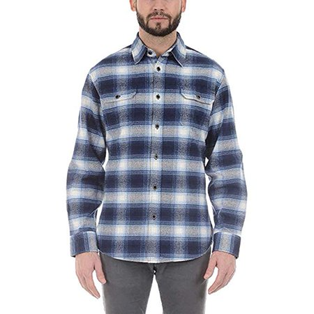 - Jachs Men's Brawny Flannel Shirt (Medium, Blue/White) - NEW