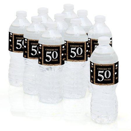 Adult 50th Birthday - Gold - Birthday Party Water Bottle Sticker Labels - Set of 10