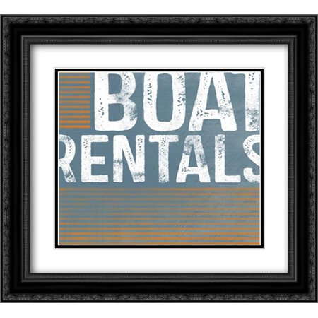 Black Light Rental (Boat Rentals 2x Matted 22x20 Black Ornate Framed Art Print by Doucette,)