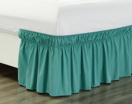 Queen Turquoise Elastic Wrap Around Dust Ruffled Bedskirt Bedding Bed Dressing Easy Fit... by