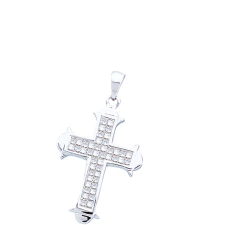 Princess Invisible Set Cross (Solid 14k White Gold Princess Cut White Diamond Invisible Set Cross Pendant (1/2 cttw) )
