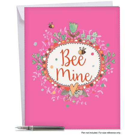 J6548AVDG Jumbo Valentine's Day Greeting Card: 'LET IT BEE' with Envelope (Big Size: 8.5