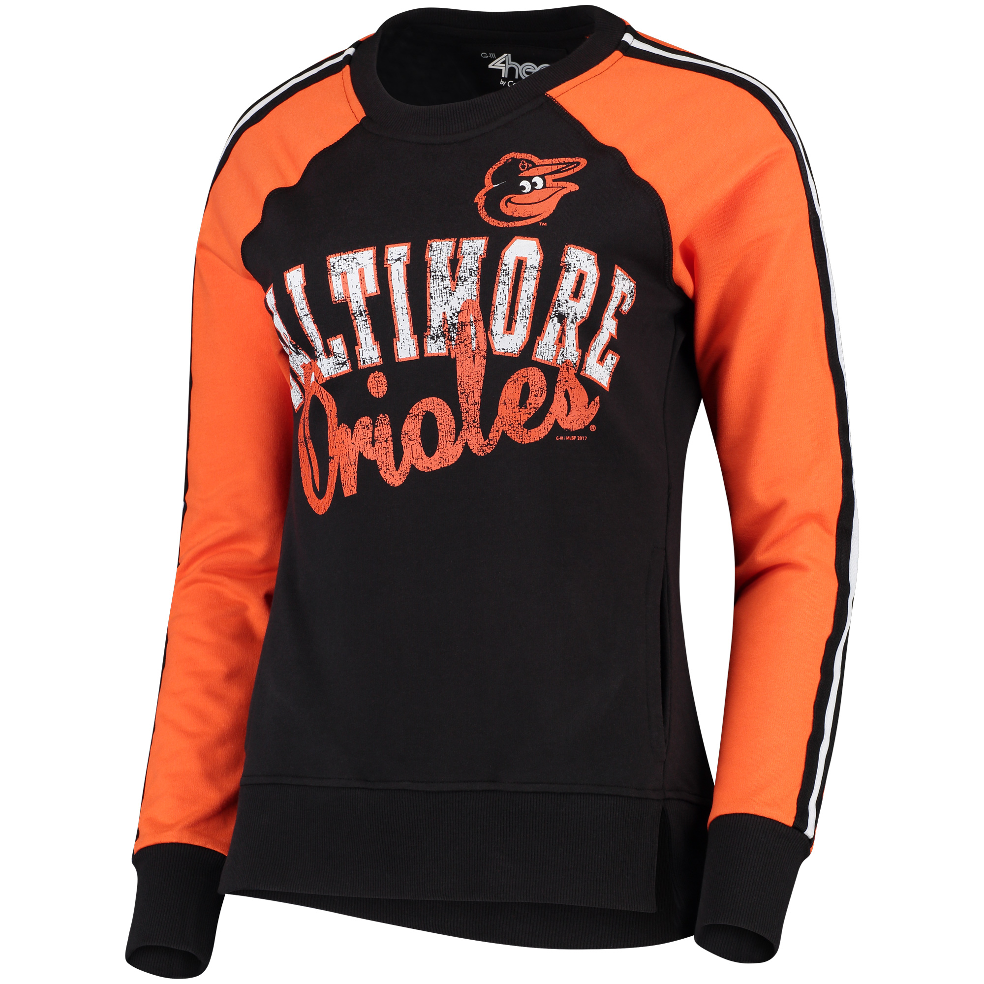 Women's G-III 4Her by Carl Banks Black/Orange Baltimore Orioles Perfect Pitch Pullover Sweatshirt