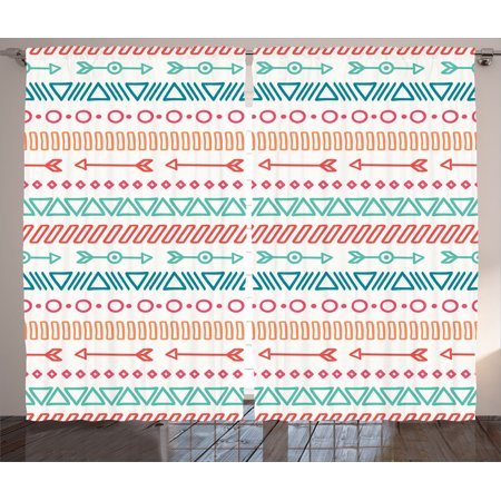Arrow Decor Curtains 2 Panels Set, Aztec Maya Ethnic Pattern And Triangle Geometric Shapes Native Heritage Graphic Art, Living Room Bedroom Accessories, By Ambesonne