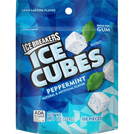 (2 pack) Ice Breakers Ice Cubes Peppermint Flavor Gum, 100 Pieces, 8.11 Oz.