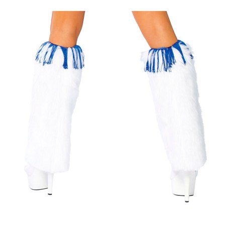 Sexy Adult Halloween Accessory White Fuzzy Cheerleader Costume Leg Warmers (Adult Cheerleader Halloween Costumes)