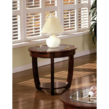 - Furniture of America Revels Transitional Glass End Table, Dark Cherry