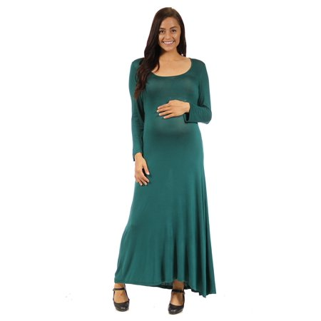 24seven Comfort Apparel Women's Simple Maternity Long Sleeve Scoop Neck Stretchy Maxi Dress - Cinco De Mayo Dresses Sale
