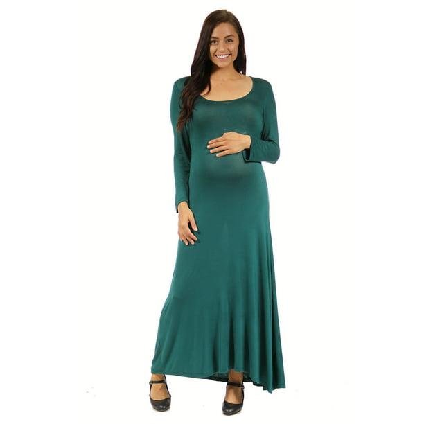 24 7 Comfort Apparel 24seven Comfort Apparel Women S Simple Maternity Long Sleeve Scoop Neck Stretchy Maxi Dress Walmart Com Walmart Com