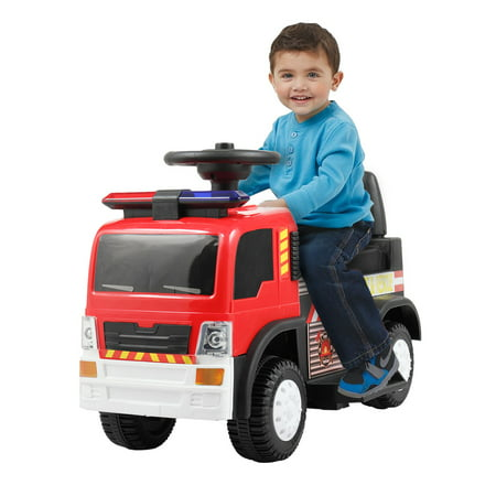 Tobbi 6V Kids Ride On Rescue Fire Truck Electric Battery Powered w/ Lights, Music, Horn