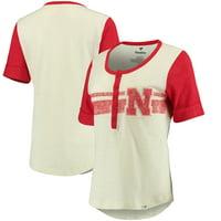 Nebraska Cornhuskers Fanatics Branded Women's True Classics Drop Tail Henley T-Shirt - Cream/Scarlet