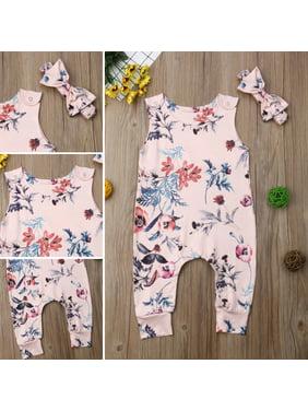 2PCS Infant Newborn Toddler Baby Girl Floral Romper Bodysuit Jumpsuit Outfits Clothes Headband Set 0-3 Months
