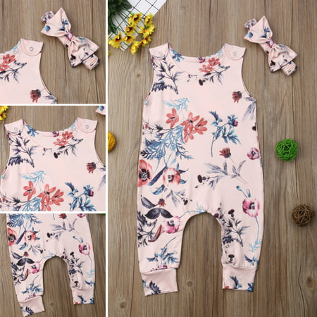 Damask Baby Girl Clothes (2PCS Infant Newborn Toddler Baby Girl Floral Romper Bodysuit Jumpsuit Outfits Clothes Headband Set 0-3)