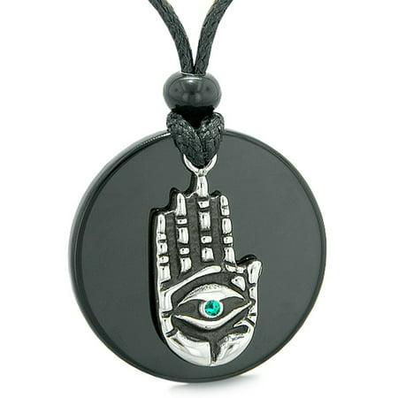 All Seeing and Feeling Buddha Eye Hamsa Hand Magic Medallion Black Agate Green Crystal Pendant Necklace (Hand Of Buddha Jewelry)