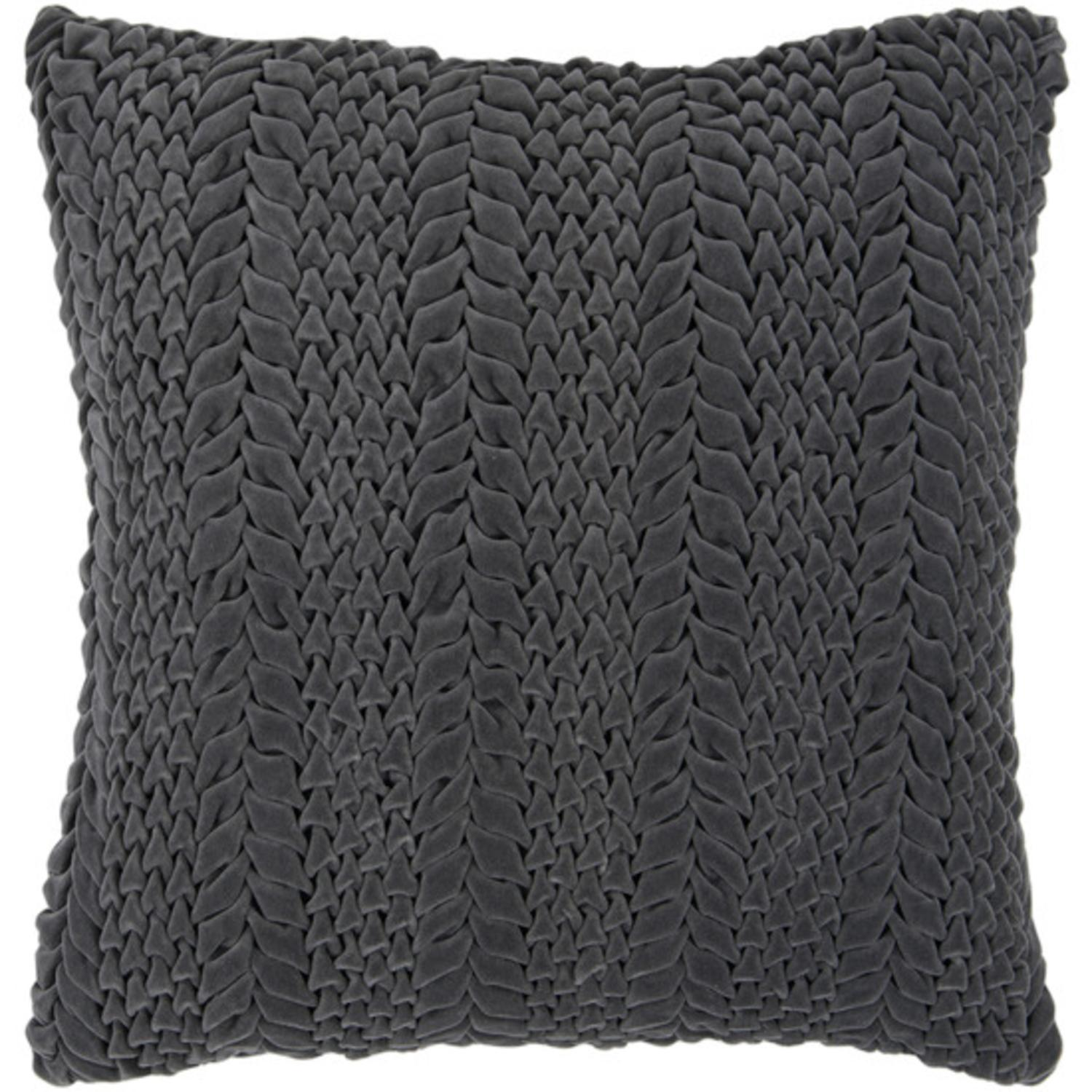"18"" Pewter Gray Scale Pattern Decorative Throw Pillow"