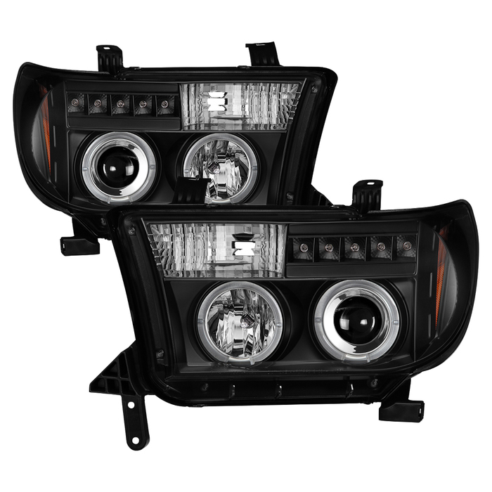 Spyder Toyota Tundra 07-13 / Toyota Sequoia 08-13 Projector Headlights - Eliminates AFS function - LED Halo - LED ( Replaceable LEDs ) - Black - High