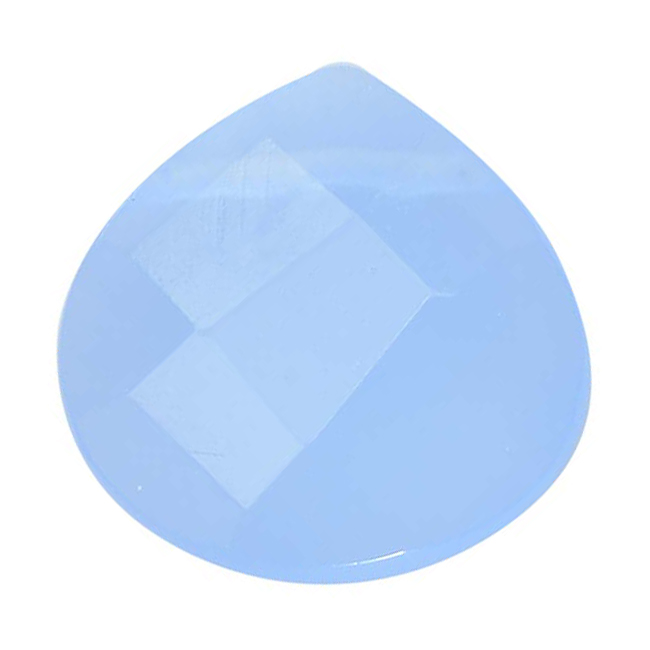 Glass Faceted Heart Cut Briolette Beads 13x13mm - Blue Chalcedony (4)