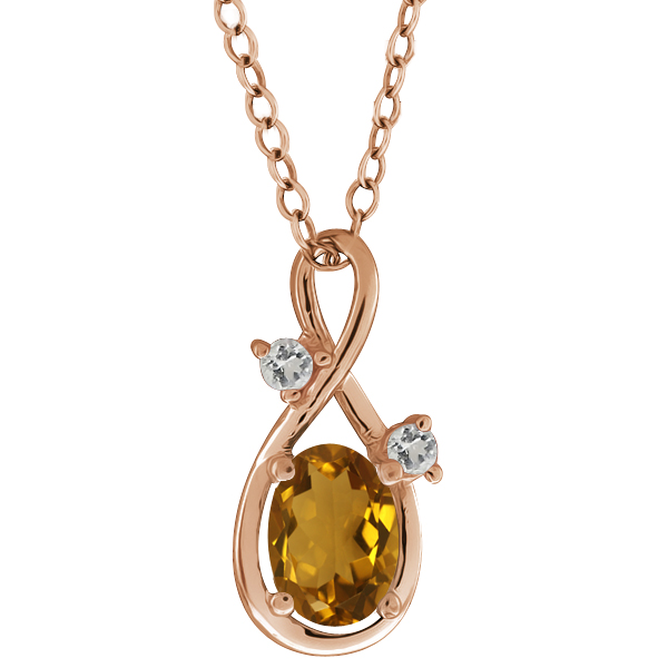 0.78 Ct Oval Champagne Quartz and Topaz Gold Plated Sterling Silver Pendant