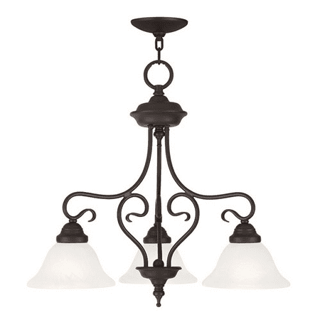 Chandeliers 3 Light With White Alabaster Glass Bronze size 24 in 300 Watts - World of