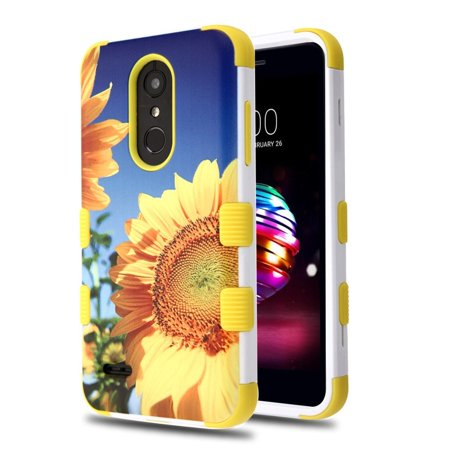 LG K30 case by Insten Tuff Sunflower Hard Plastic/Soft TPU Rubber Dual Layer [Shock Absorbing] Hybrid Case Phone Cover For LG K10 (2018)/K30/Premier Pro LTE (Lg 3g Phone Cases With Port Cover)