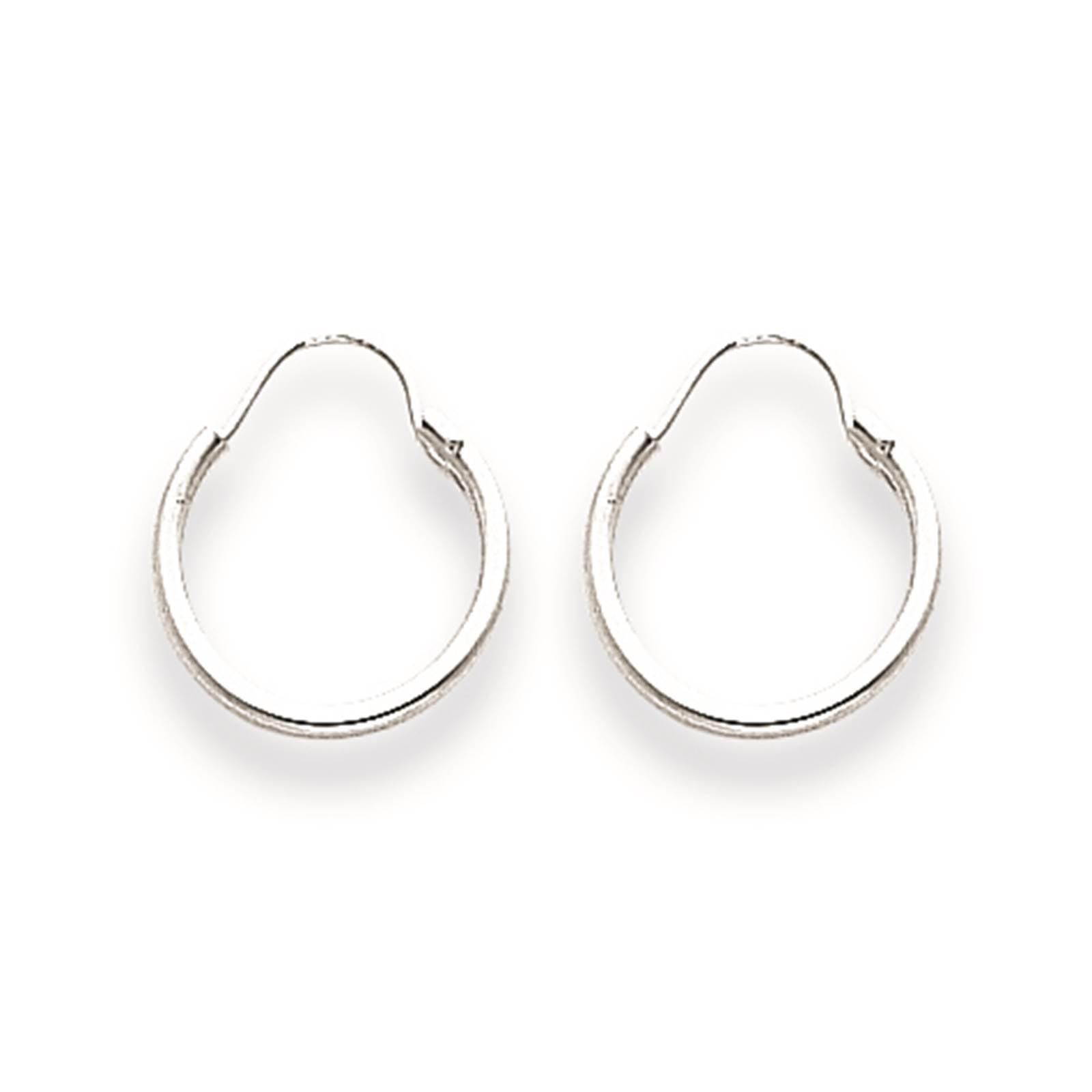 Madi K Childrens 14k White Gold Hollow & Polished 1.25mm Endless Hoop Earrings