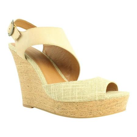 BC Footwear Womens Chihuahua Natural/Tan Strappy Heels Size 9.5