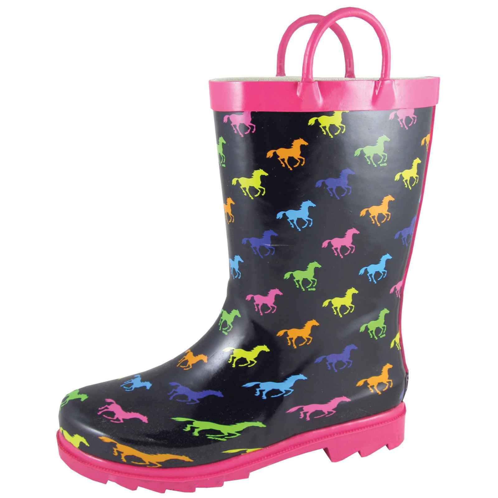 Smoky Mountain Boots - Smoky Mountain Girl's Ponies Black/Multi Rubber  Boots 2754 - Walmart.com - Walmart.com