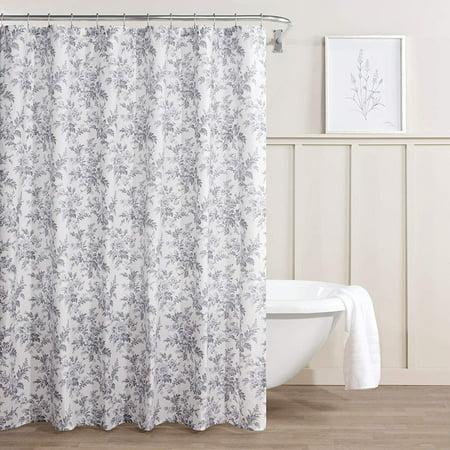 Laura Ashley Bath - Annalise Floral Shower Curtain 72 x 72 Medium Gray, 100% Cotton By Laura Ashley