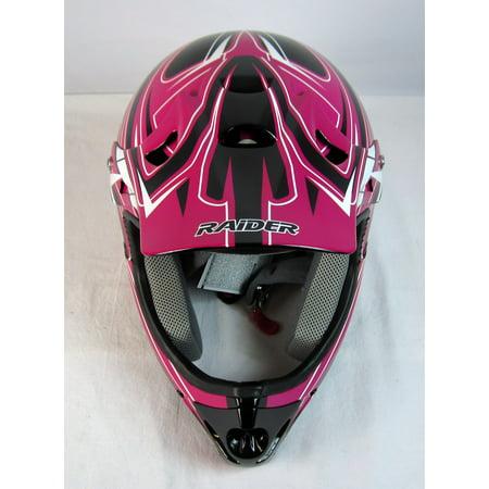 Raiders Helmet (Raider Youth Rush MX Helmet Black/Pink)