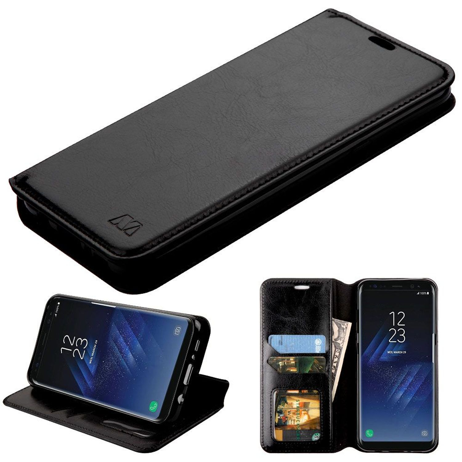 Insten Stand Folio Flip Leather [Card Holder Slot] Wallet Pouch Case Phone Cover For Samsung Galaxy S8 Plus S8+, Black