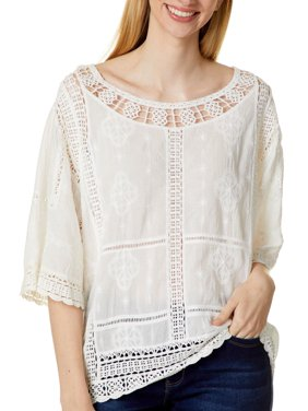Democracy Womens Solid Crochet Trim Cropped Short Sleeve Top