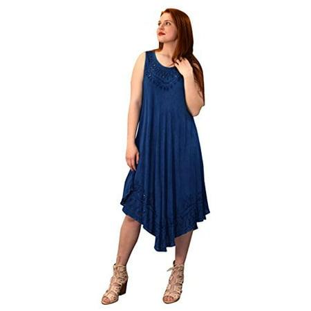 - Peach Couture Classic Denim Uneven Hem Caftan Dress Long Tunic Cover up