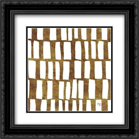 Golden Opportunity II 2x Matted 20x20 Black Ornate Framed Art Print by Nancy Green Design