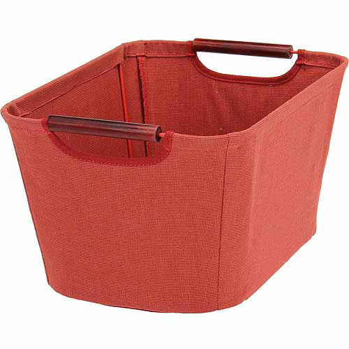 Household Essentials Small Tapered Bin with Wood Handles, Red